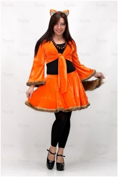 Lapės kostiumas:sijonas, palaidinė, uodega, bodis, lankelis su ausytėm