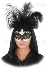 Venecijos veido kaukė su plunksnomis